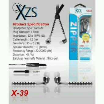 Harga Yarden XZS x-39 universal zipper super BASS Handsfree Sound Only Excellent Sound Quality With Mic - random