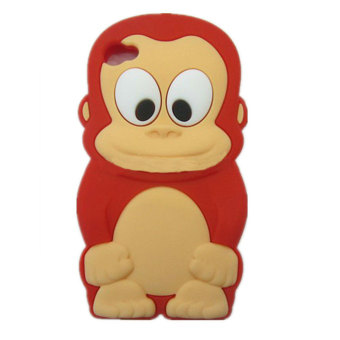 Leegoal 3D Cartoon King Monkey Soft Silicone Case Cover for iPhone 5 5S (Red)