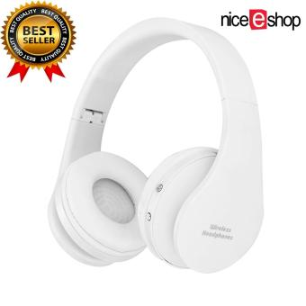 niceEshop headphone stereo headset Bluetooth nirkabel lipat alat pendengar (putih)
