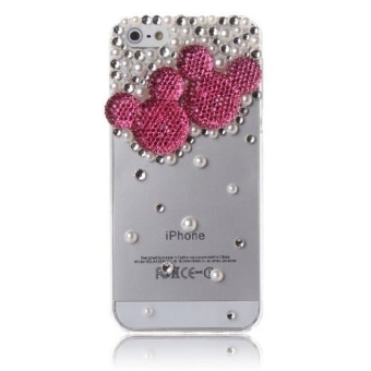 ... Home Leegoal Ivory 3d Pearl Bling Peacock Crystal Diamond Rhinestone Hard Case Cover For Iphone