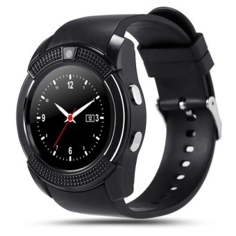 Harga Unique Original Sport Watch Full Screen Smart Watch V8 For Android Match Smartphone Support TF SIM Card Bluetooth Smartwatch PK GT08 U8 - intl - Hitam