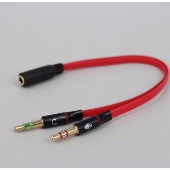 Harga LYBALL 3.5mm Male to 2 Female Headphone Mic Jack Audio Stereo with Separate Headset Microphone Plugs Jack Y Splitter Cable Red - intl