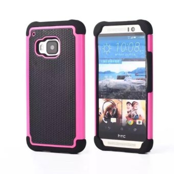 Harga Compatible for HTC One M9 Dual Layer 2 in 1 Rugged Rubber Hybrid Protective Armor Soccer Grain Phone Cover Case VROOM - intl