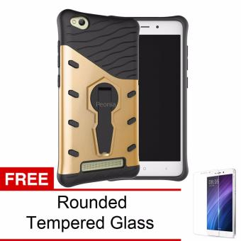 Peonia Kickstand Robotic Case For Xiaomi Redmi 3 - Hitam + Gratis Tempered Glass. Source