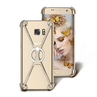 Harga OATSBASF Creative X Shaped Metal Bumper Case with Ring Kickstand for Samsung Galaxy S7 edge G935 - Gold - intl