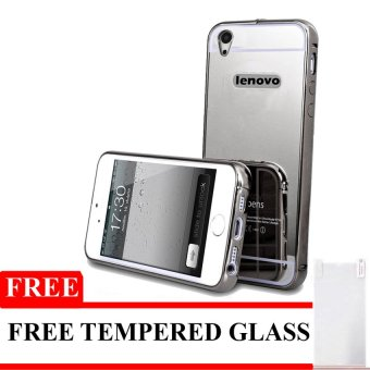 Harga Case For Lenovo A6000 / A6010 Bumper Chrome With Backcase Mirror - Black + Free Tempered Glass