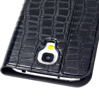 Leegoal Black Crocodile Print Glitter Stand Flip Cover Synthetic Leather Case with Window View for Samsung