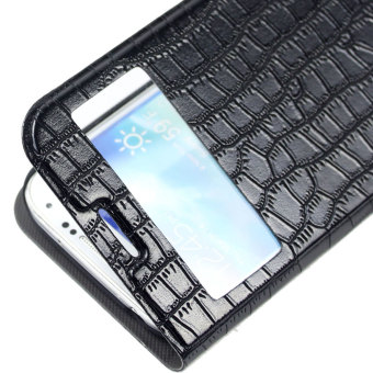 Leegoal Black Crocodile Print Glitter Stand Flip Cover Synthetic Leather Case with Window .