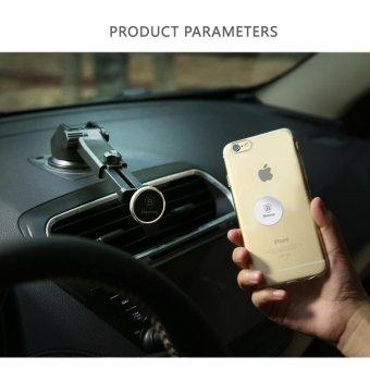BASEUS Solid Series Telescopic Magnetic Smartphone Car Mount Bracket 360° Rotation - Gold - intl