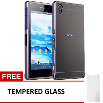 Case For Sony Xperia M4 Aqua Bumper Slide Mirror - Black + Free Tempered Glass