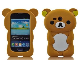 Harga Lovely 3D Bear Silicone Skin Case Cover for Samsung Galaxy S III S3 Mini i8190 - Brown