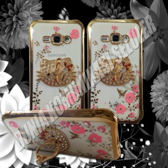 Harga Softcase - Casing Shining Chrome Flower With RingStand - Samsung Galaxy V / V Plus - Gold
