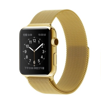 Harga New Milanese Loop Watch Strap For Apple Watch Band 42mm Gold link bracelet Stainless Steel Woven iwatch watchband (Gold) - intl