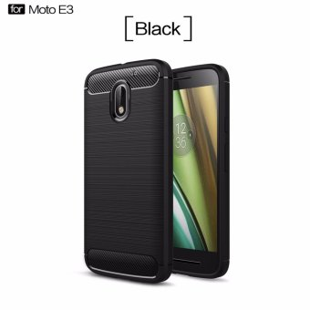 Harga Phone Cases For moto E3 Case Cover Back For moto E3 Case Silicone Carbon Fiber Brushed TPU Mobile Phone Cases (black) - intl