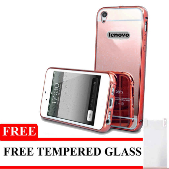 Harga Case For Lenovo A6000 / A6010 Bumper Chrome With Backcase Mirror - Rose Gold + Free Tempered Glass