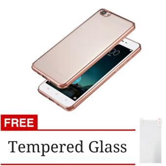 Softcase Ultrathin Silicon Shining List Chrome Jelly Case For Vivo V5 / Y67 - Rosegold +