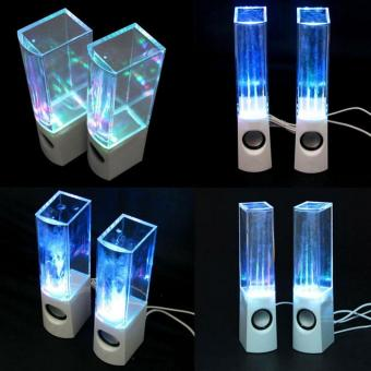 ... 2PCS LED Light Dancing Water Music Fountain Light Speakers for PC Laptop For iPhone Portable Desk