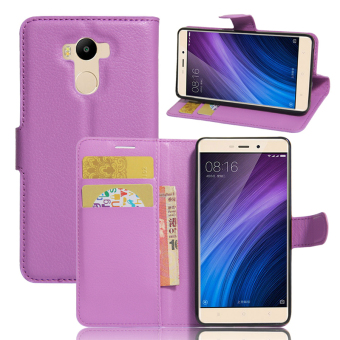 Harga Wallet Flip Leather Case For Xiaomi Redmi 4 Prime / Xiaomi Redmi 4 Pro (Purple) - intl