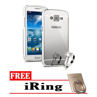Case For Samsung Galaxy Grand Neo Bumper Slide Mirror - Silver + Free Tempered Glass