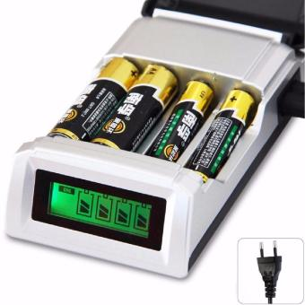 Harga Rainbow Fast Intelligent LCD 4 Slot Charger Baterai for Battery AA / AAA NiMh NiCd - C905W - Hitam