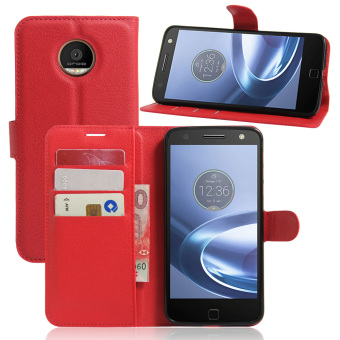 Harga Cyboris Cell Phone Case For Motorola Moto Z Phone Wallet Leather Folio Case With Card Slot Stand Function(107006 Red) - intl