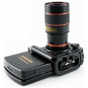 Harga Mobile Phone Telescope Lens 8X Optical Zoom with Universal Clamp for Mobile Phone - Hitam