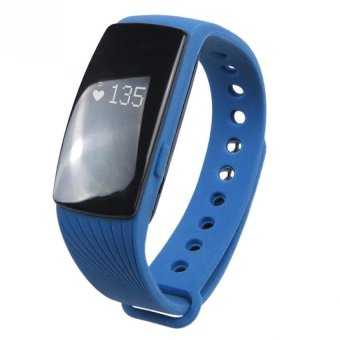Harga BLN ID107 Bluetooth 4.0 Smart Bracelet band Heart Rate Monitor Fitness Tracker Wristband for Android iOS (Blue) (Intl)