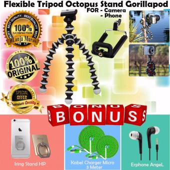 Harga Trend's Portable Flexible Tripod Medium Portable GorillaPod Octopus Stand For Action Camera - Gratis Iring Stand HP + Kabel Charger Micro 3 Meter & Earphone Angel