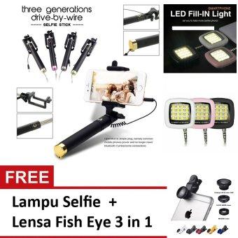 Tongsis Monopod/ Selfie Stick Paket Combo Travel – Gold + Lampu Selfie + Lensa Fish