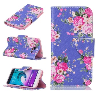 Leather Stand Wallet Case Flip Cover For Samsung Galaxy J3/J3 2016 (Floral)