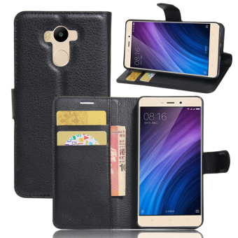 Harga Wallet Flip Leather Case For Xiaomi Redmi 4 Prime / Xiaomi Redmi 4 Pro (Black) - intl