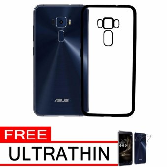 Softcase Silicon Jelly Case List Shining Chrome for Asus Zenfone 3 ZE552KL - Black + Free