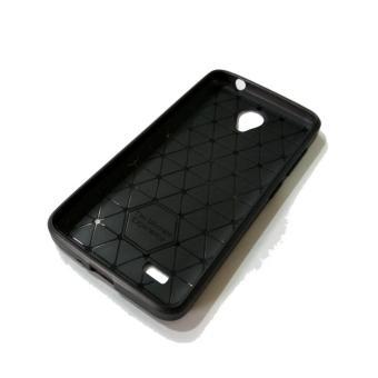 iPaky Carbon Fiber Shockproof Hybrid Back Case for VIVO Y21 - Black + .