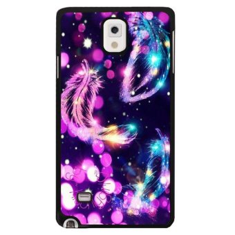 Beauty Feather Pattern Phone Case For Samsung Galaxy Note 4(Multicolor) - intl .
