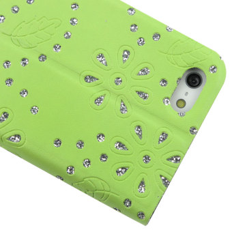Leegoal Green Fluorescent Powder Flower Fold Stand Folio Flip Synthetic Leather Case Cover .