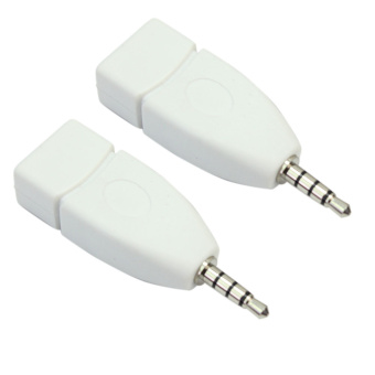 2 buah saku 3.5 mm audio jack male aux steker USB 2.0 adaptor konverter perempuan .