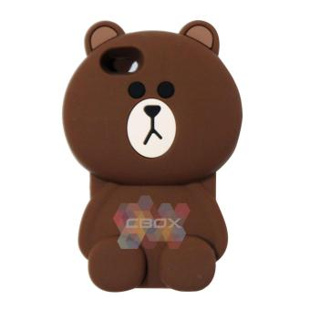 Harga MR Soft Case 3D Animasi For Apple iPhone 5G / iPhone 5S / iPhone 5SE / Iphone5G / Iphone 5S / Iphone 5SE / Silicone Soft Back Cover Boy Bear Brown Line - Beruang Cokelat Polos