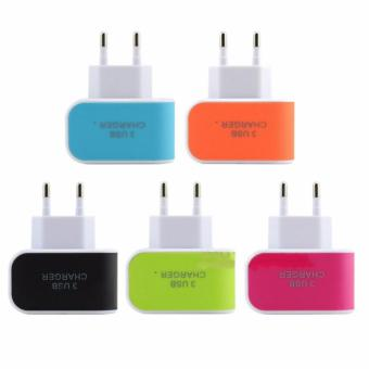 Detail Gambar Safe Charger 3 Port USB - Orange + Gratis 3 Buah Kabel Data Smile