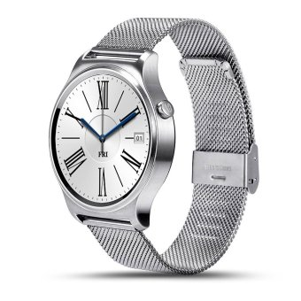 Harga BLN GW01 Smart Watch Bluetooth 4.0 SmartWatch Heart Rate Monitor For Android 4.3 iOS 7 IPS Round Screen Life Water Resistant (Silver/Metal) - intl