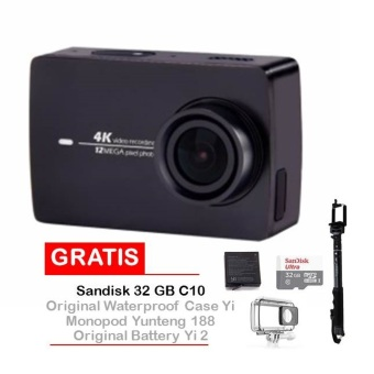 Harga Xiaomi Yi II Inter Version Wifi 4k - Hitam + Sandisk 32GB + Monopod Yunteng 188 + Original Waterproof Case + Original Battery Yi II