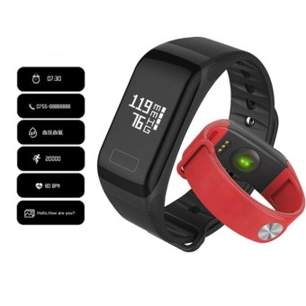 Harga F1 Smart Band Blood Oxygen Pressure Monitor Sport Bracelet Heart Rate Monitor Call/SMS Reminder For iOS Android Phone pk fitbits - intl