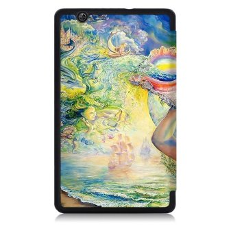 BYT Colorful Printing Tablet Leather 3 Folio Flip Cover Case for Huawei MediaPad .