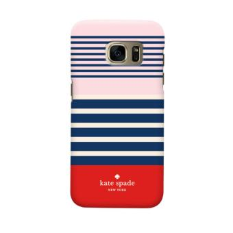 Indocustomcase Kate Spade Blue Stripe Casing Case Cover For Samsung Galaxy S6 Edge