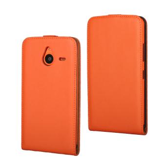 Downward Opened Plain Weave Style PU Leather Case for Microsoft Lumia 640XL Orange .