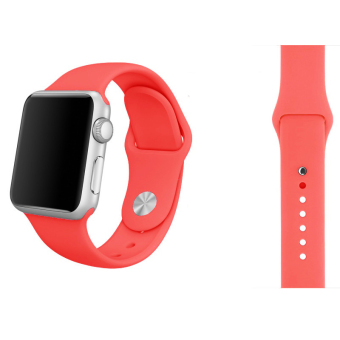 Harga Soft Silicone Watch Band Strap With Connector Adapter For Apple Watch iWatch 42mm (Hotpink)