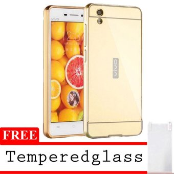 Case Vivo Y51 Alumunium Bumper With Mirror Backdoor Slide - Emas + Gratis Tempered Glass