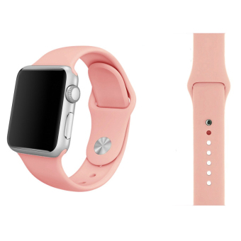 Harga Soft Silicone Watch Band Strap With Connector Adapter For Apple Watch iWatch 42mm (Pink)