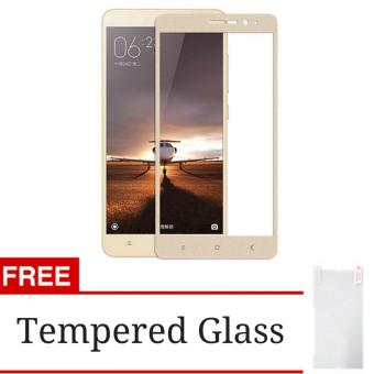 Harga 3D Full Cover Tempered Glass Warna Screen Protector for Xiaomi Redmi 3 Pro / 3s / 3x - Gold + Gratis Tempered Glass Clear