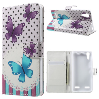Harga Patterned Leather Folio Case for Lenovo A6000/A6000 Plus/A6010/A6010 Plus - Butterflies and Polka Dots