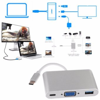 Harga LYBALL Type-C 3.1 to VGA USB 3.0 HUB USB-C Charging Port Adapter USB 3.1 Cable 3 IN 1 Silver - intl